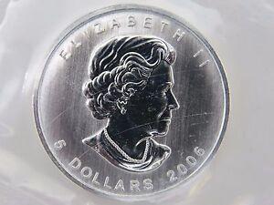 2006 SILVER MAPLE LEAF $5 CANADIAN CANADA COINS 1 oz UNCIRCULATED MYLAR POUCH