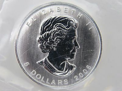 1990 1 oz Silver Maple Leaf Coin $5 Canada Canadian Coin Mylar Pouch Sealed