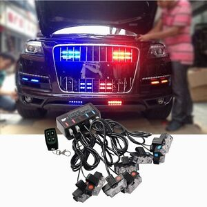 8 led red blue car truck wireless emergency warning strobe lights 8 led red blue car truck wireless emergency aloadofball Image collections