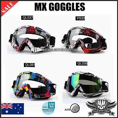Anti-fog UV Protection Motorbike MX Racing Goggles Quad Dirt Trail Bike Skiing