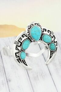 SQUASH-BLOSSOM-CUFF-BRACELET-in-turquoise-and-silver-tone
