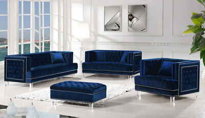 Pleasant Maxim Modern Button Tufted Navy Blue Velvet Sofa Set With Silver Nailhead Trim Ebay Creativecarmelina Interior Chair Design Creativecarmelinacom