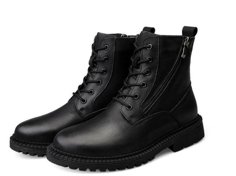 Mens Winter Lace Up casual Zipper Knight Motorcycle Hiking Ankle Boots shoes