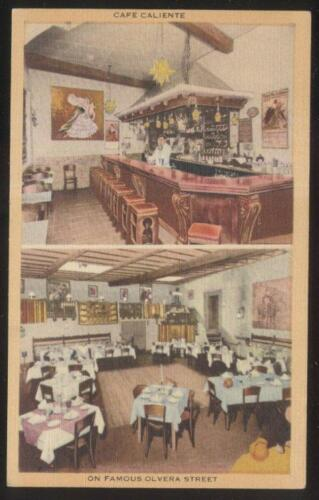 POSTCARD LOS ANGELES CACALIFORNIA CAFE CALIENTE RESTAURANT INTERIOR VIEW 1930'S