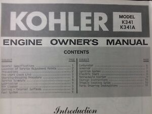 Details about Kohler K341 16 hp Engine Owners Manual Garden Lawn Mower on