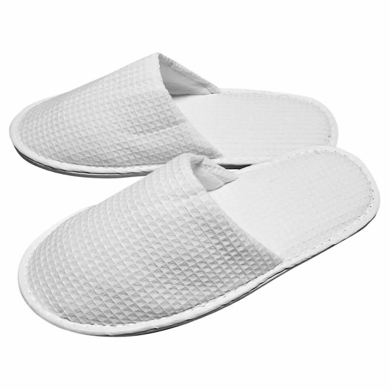 Wholesale White Waffle Closed Toe Slippers Hotel Spa Weekend Size 29cm From £2