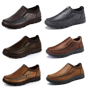 men winter casual leather loafers antiskid driving