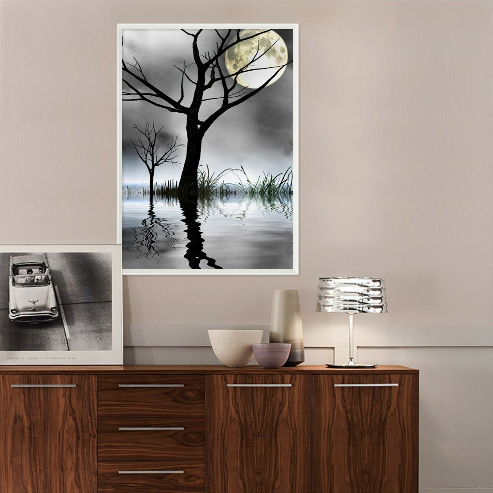 3D árbol lago luna 2 Póster Enmarcado Decoración del Hogar Pintura de Impresión Arte AJ Wallpaper