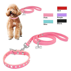 Bling-Rhinestone-Pet-Collar-amp-Leash-set-for-Small-Puppy-Dog-Cat-Chihuahua-XXS-S