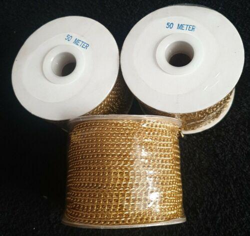 50m Cable Chapado en Oro//abrir Enlace Cadena de Joyería Cadena de Metal de Hierro 3mm X 4mm