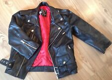 Genuine Leather Vtg Skinny Cropped Red Lining Motorcycle Biker Moto Jacket 6 XS