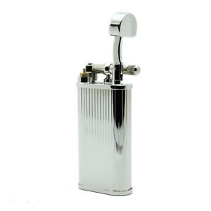 Details about New Peterson Of Dublin Pipe Lighter Smoking Butane Gas Flint  Chrome Stripe