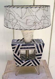 Handmade-Atomic-MCM-style-Ceramic-Lamp-With-Fiberglass-Shade-amp-Hairpin-Legs