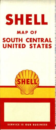 1957 Shell Road Map South Central United States NOS