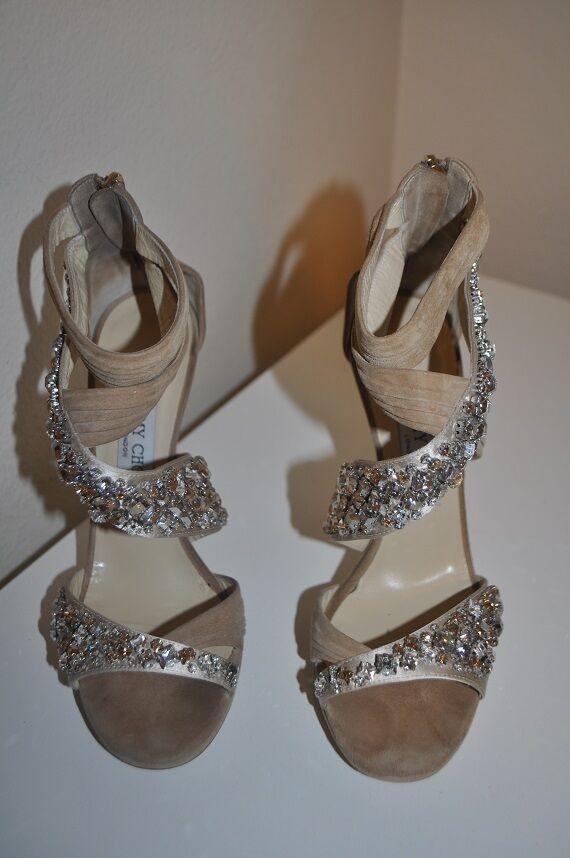 2,195+ Jimmy Choo KANI Crystal Crisscross Platform Sandal 38.5 shoes Beige Suede 332e3d