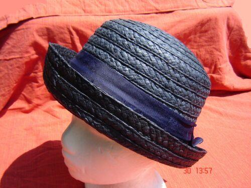 kleiner Sommerhut Vintage Strohhut marine blau Damen T