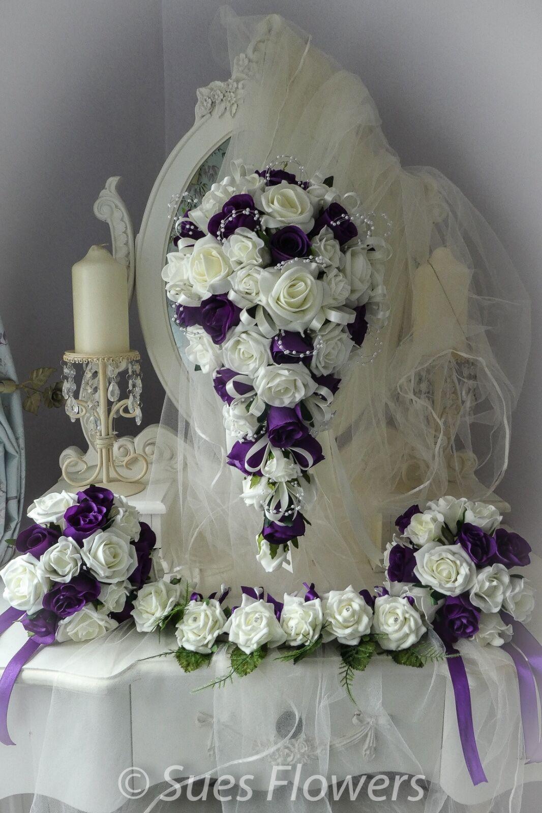 WEDDING WEDDING WEDDING FLOWERS  FULL SET IN CADBURYS lila AND IVORY or Weiß just ask 9ef292