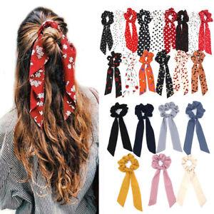 Boho-Print-Ponytail-Scarf-Bow-Elastic-Hair-Rope-Tie-Scrunchie-Ribbon-Hair-Band
