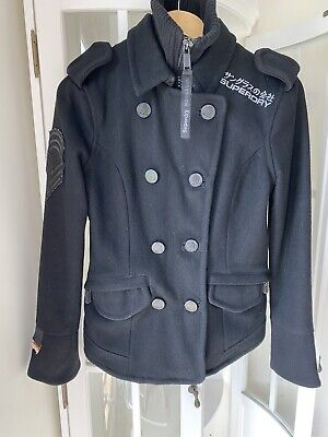 Superdry Navy Label Classic Pea Coat, Superdry Classic Pea Coat Navy