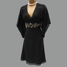 Karen Millen Black Silk Beaded Jewel Cocktail Party Evening Kimono Dress 8 UK