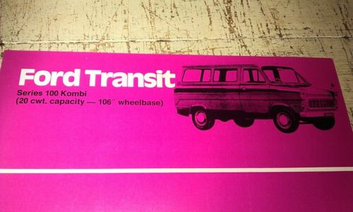1968  FORD TRANSIT 100 KOMBI   Australian Specs Sheet