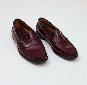 EUC-Bass-Mens-Burgundy-Cordovan-Leather-Loafers-US-10-5D-SKU-E032