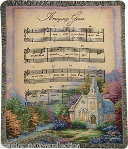 THROWS-AMAZING-GRACE-TAPESTRY-THROW-50-034-X-60-034-THROW-BLANKET-COUNTRY-CHURCH
