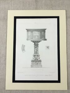 1857-Antique-Print-Architectural-Church-Font-Cathedral-Pistoia-Prato-Italy-Art