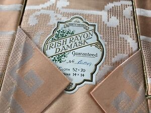 Vintage-Boxed-PEACH-Irish-RAYON-Damask-Tablecloth-6-Napkins-52x70-Inches-14x14