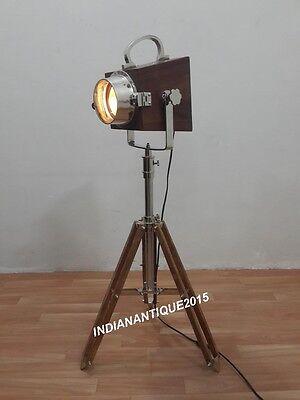 Nautical Mini Wooden Spotlight Corner Desk Lamp Marine Table Searchlight Decor