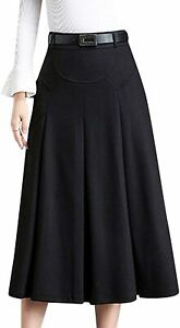 Tanming Womens Winter High Waist A-Line Pleated Wool Long Skirt with Belt Loops
