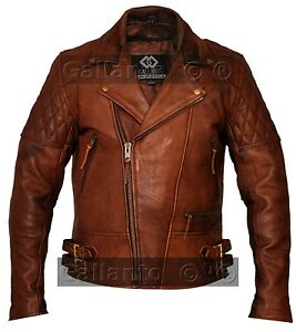 dfbfbc08a02 Image is loading Gallanto-Vintage-Brown-Classic-Diamond-Armoured-Motorcycle- Biker-