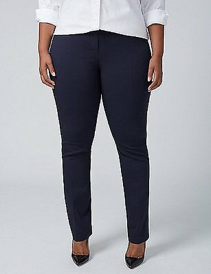 Plus 14 24 28 ~ Navy Blue LENA STRAIGHT LEG Curvy Pants 1X 4X LANE BRYANT ~ NWT
