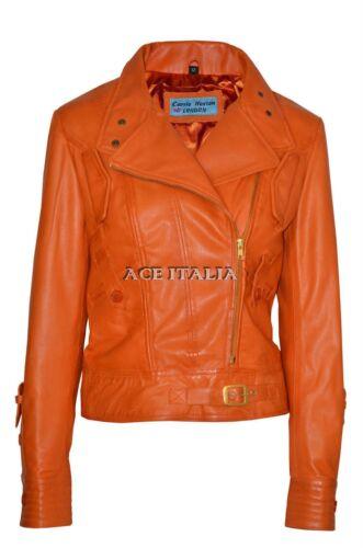 Real Style Ladies Orange 100 Leather Napa Biker Jacket Army Designer 1xqgSwB8