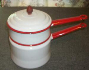 Vintage-Enamelware-Double-Boiler-White-Red