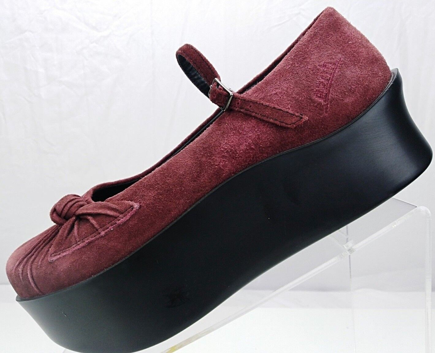 Earth Mary Jane - Casual Erika Platform Suede Leather Heels Women's 7 B Wine