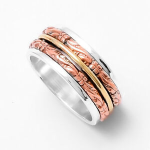 Solid-925-Sterling-Silver-Spinner-Ring-Meditation-Statement-Ring-Size-ss5423