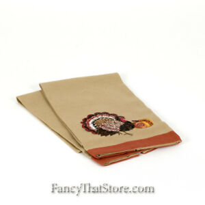 Thanksgiving-Embroidered-Turkey-Guest-Towel-Set-of-2-C-amp-F-RN67843-New