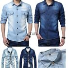 Fashion Men's Jeans Tops Casual Slim Fit Stylish Wash-Vintage Denim Shirts TXCL