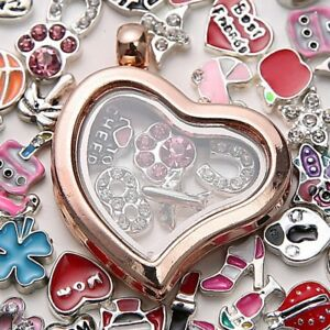 Living-Memory-Floating-Charm-Crystal-Glass-Round-Heart-Locket-Pendant-Necklace