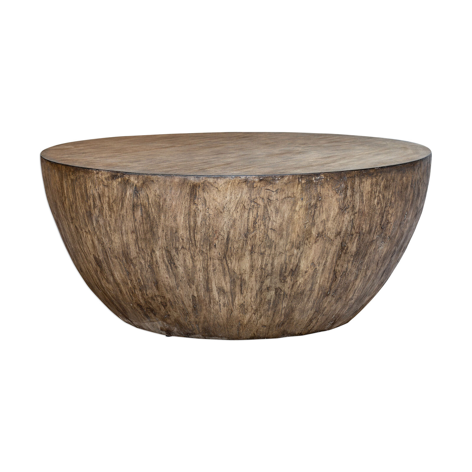 - Faceted Large Round Light Wood Coffee Table Modern Geometric Block
