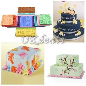Gum Glue Cake Decorating : Hot 14 Modles Silicone Fondant Cake Embossing Gum Paste ...