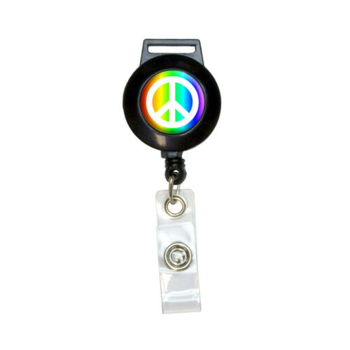 Rainbow Lanyard Retractable Reel Badge ID Card Holder Peace Sign Symbol