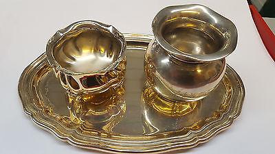 Hell 835 Bzw. 925 Er Silber Zucker Sahne Set Mit Tablett 3 Teilig