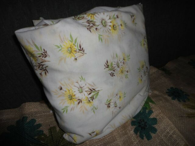 VINTAGE PEQUOT FLORAL RETRO SUNNY DAISIES YELLOW BROWN FULL FITTED SHEET 7""