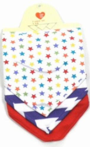 Baby Boys Pack of 3 Dribble Bandana Bib Small Star Navy Stripe Plain Red NEW