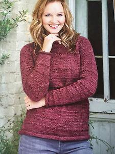 KNITTING-PATTERN-Ladies-Long-Sleeved-Textured-Jumper-Sweater-Rowan-PATTERN