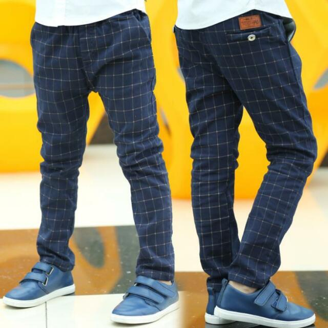 Sping/Autumn Britain Style Casual Kids Plaid Pants for Boys Trousers