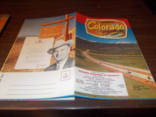 1952 Colorado Stateissued Vintage Road Map and Brochure Beautiful Color!