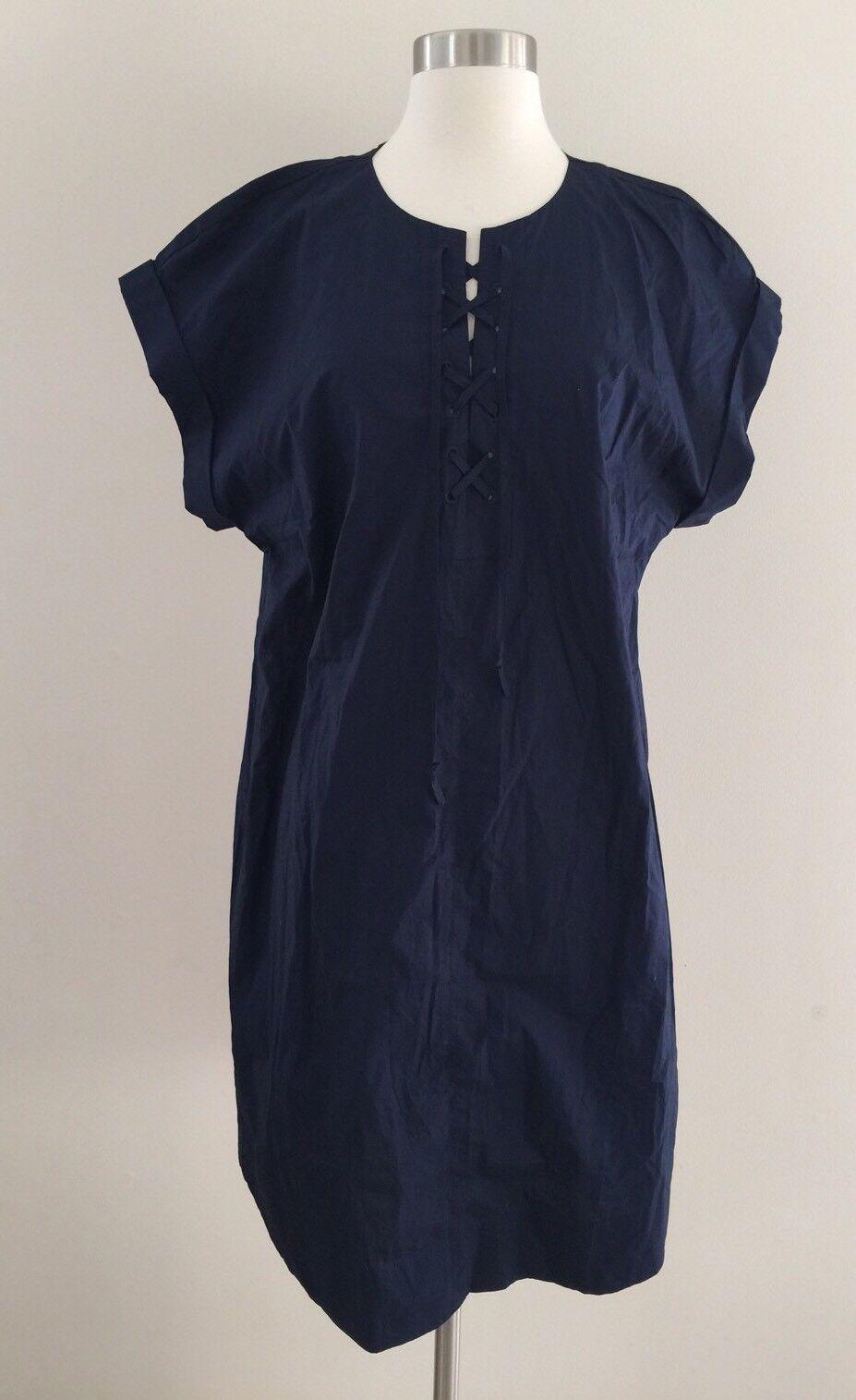 NEW Jcrew Tall Lace Up Cotton Shirt Dress NAVY G6001 SUMMER 2017 TXL SOLD-OUT